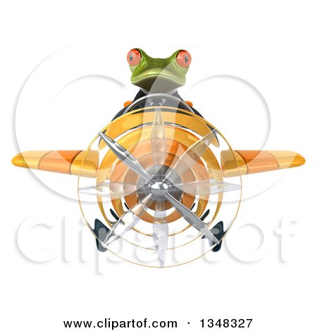 Clipart of a 3d Green Business Springer Frog Aviator Pilot Flying a Yellow Airplane - Royalty Free Illustration by Julos