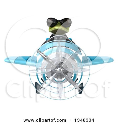 Clipart of a 3d Green Business Springer Frog Aviator Pilot Wearing Sunglasses and Flying a Blue Airplane - Royalty Free Illustration by Julos