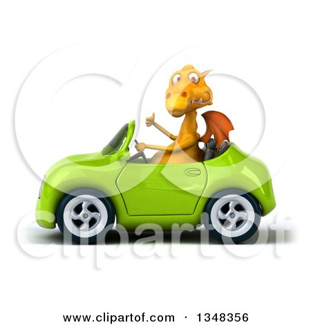 Clipart of a 3d Yellow Dragon Giving a Thumb up and Driving a Green Convertible Car to the Left - Royalty Free Illustration by Julos