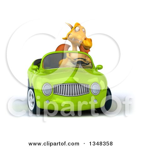 Clipart of a 3d Yellow Dragon Driving a Green Convertible Car - Royalty Free Illustration by Julos