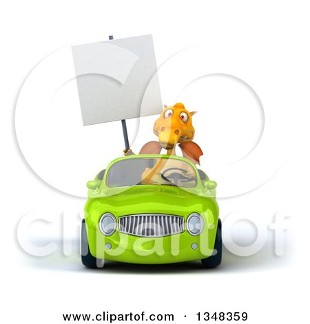 Clipart of a 3d Yellow Dragon Holding a Blank Sign and Driving a Green Convertible Car - Royalty Free Illustration by Julos