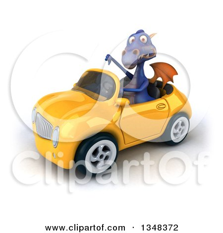 Clipart of a 3d Purple Dragon Giving a Thumb down and Driving a Yellow Convertible Car to the Left - Royalty Free Illustration by Julos