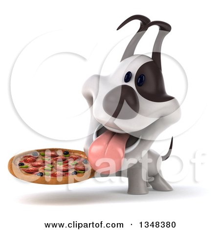 Clipart of a 3d Jack Russell Terrier Dog Panting and Holding a Pizza - Royalty Free Illustration by Julos