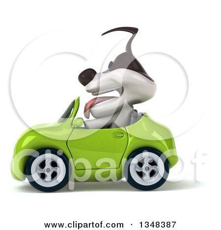 Clipart of a 3d Jack Russell Terrier Dog Driving a Green Convertible Car to the Left - Royalty Free Illustration by Julos