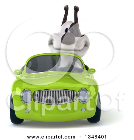 Clipart of a 3d Jack Russell Terrier Dog Driving a Green Convertible Car - Royalty Free Illustration by Julos