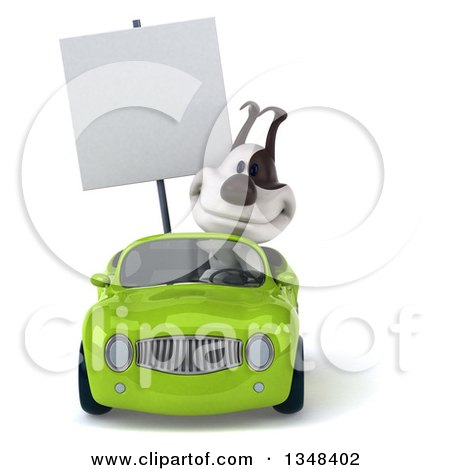Clipart of a 3d Jack Russell Terrier Dog Holding a Blank Sign and Driving a Green Convertible Car - Royalty Free Illustration by Julos