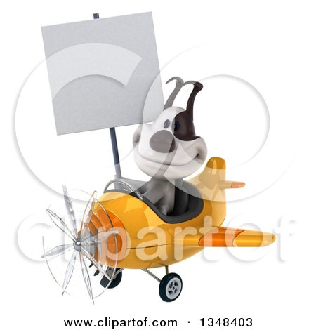 Clipart of a 3d Jack Russell Terrier Dog Aviator Pilot Holding a Blank Sign and Flying a Yellow Airplane to the Left - Royalty Free Illustration by Julos