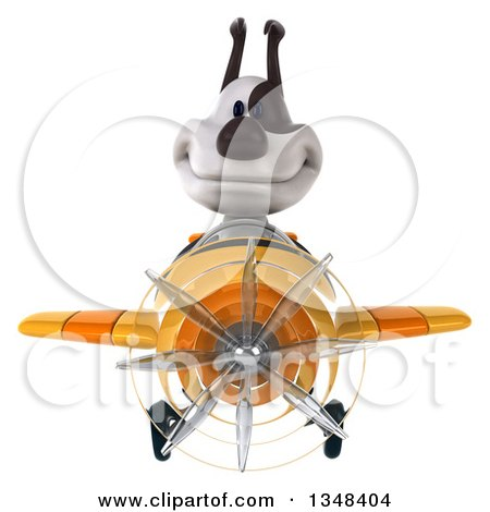 Clipart of a 3d Jack Russell Terrier Dog Aviator Pilot Flying a Yellow Airplane - Royalty Free Illustration by Julos