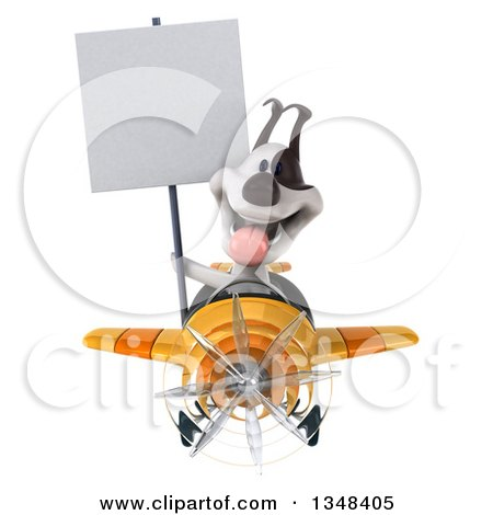 Clipart of a 3d Jack Russell Terrier Dog Aviator Pilot Holding a Blank Sign and Flying a Yellow Airplane - Royalty Free Illustration by Julos