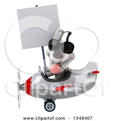Clipart of a 3d Jack Russell Terrier Dog Aviator Pilot Wearing Sunglasses, Holding a Blank Sign and Flying a White and Red Airplane to the Left - Royalty Free Illustration by Julos