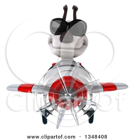 Clipart of a 3d Jack Russell Terrier Dog Aviator Pilot Wearing Sunglasses and Flying a White and Red Airplane - Royalty Free Illustration by Julos