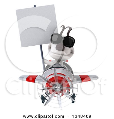 Clipart of a 3d Jack Russell Terrier Dog Aviator Pilot Holding a Blank Sign, Wearing Sunglasses and Flying a White and Red Airplane - Royalty Free Illustration by Julos