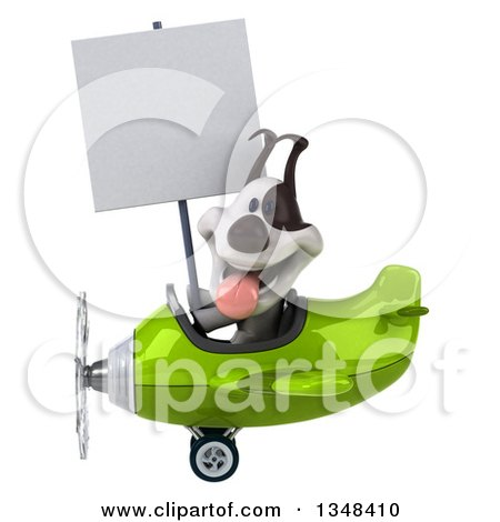 Clipart of a 3d Jack Russell Terrier Dog Aviator Pilot Holding a Blank Sign and Flying a Green Airplane to the Left - Royalty Free Illustration by Julos