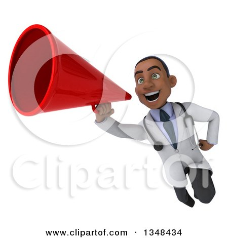 Clipart of a 3d Young Black Male Doctor Flying with a Megaphone - Royalty Free Illustration by Julos