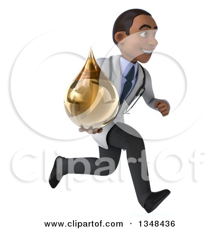 Clipart of a 3d Young Black Male Doctor Holding an Amber Tincture Drop and Sprinting to the Right - Royalty Free Illustration by Julos
