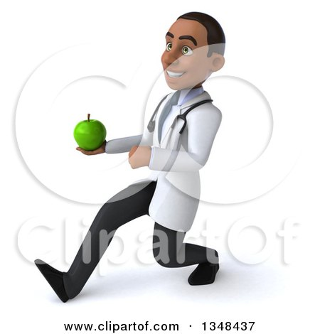 Clipart of a 3d Young Black Male Nutritionist Doctor Holding a Green Apple and Speed Walking to the Left - Royalty Free Illustration by Julos