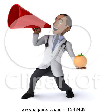 Clipart of a 3d Young Black Male Nutritionist Doctor Holding a Navel Orange and Using a Megaphone - Royalty Free Illustration by Julos