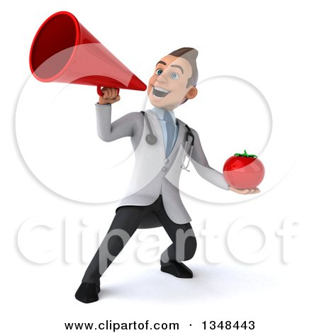 Clipart of a 3d Young Brunette White Male Nutritionist Doctor Holding a Tomato and Using a Megaphone - Royalty Free Illustration by Julos
