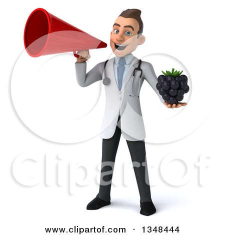 Clipart of a 3d Young Brunette White Male Nutritionist Doctor Holding a Blackberry and Using a Megaphone - Royalty Free Illustration by Julos