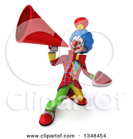Clipart of a 3d Colorful Clown Holding a Beef Steak and Using a Megaphone - Royalty Free Illustration by Julos