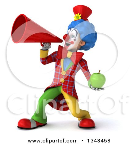 Clipart of a 3d Colorful Clown Hodling a Green Apple and Using a Megaphone - Royalty Free Illustration by Julos