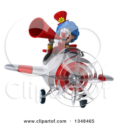 Clipart of a 3d Colorful Clown Aviator Pilot Using a Megaphone and Flying a White and Red Airplane - Royalty Free Illustration by Julos