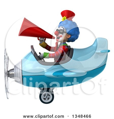 Clipart of a 3d Colorful Clown Aviator Pilot Wearing Sunglasses, Announcing with a Megaphone and Flying a Blue Airplane to the Left - Royalty Free Illustration by Julos
