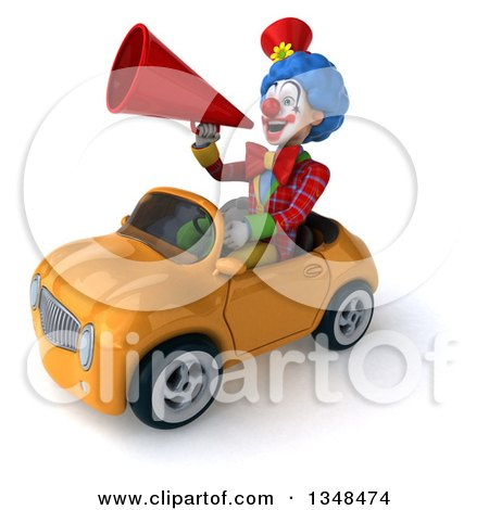 Clipart of a 3d Colorful Clown Announcing with a Megaphone and Driving a Yellow Convertible Car to the Left - Royalty Free Illustration by Julos