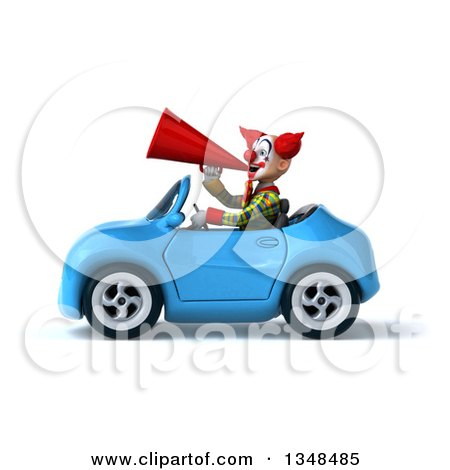 Clipart of a 3d Funky Clown Using a Megaphone and Driving a Blue Convertible Car to the Left - Royalty Free Illustration by Julos