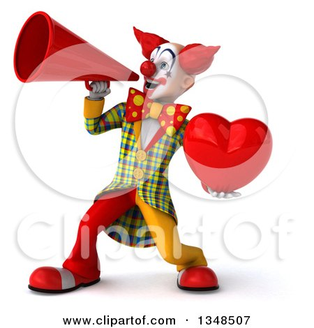 Clipart of a 3d Funky Clown Holding a Love Heart and Using a Megaphone - Royalty Free Illustration by Julos