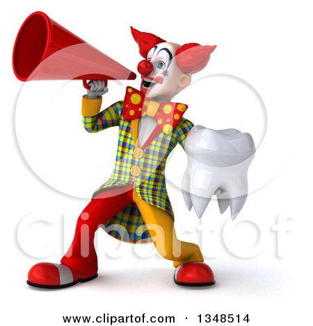 Clipart of a 3d Funky Clown Holding a Tooth and Using a Megaphone - Royalty Free Illustration by Julos