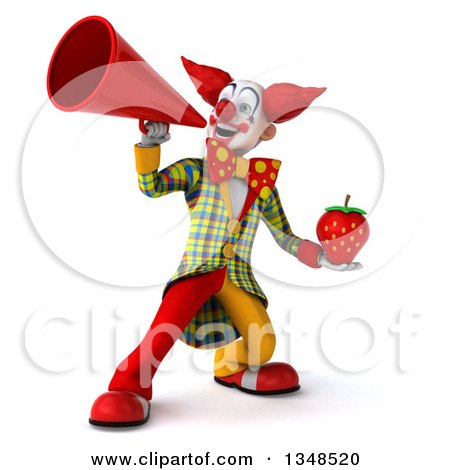 Clipart of a 3d Funky Clown Holding a Strawberry and Using a Megaphone - Royalty Free Illustration by Julos