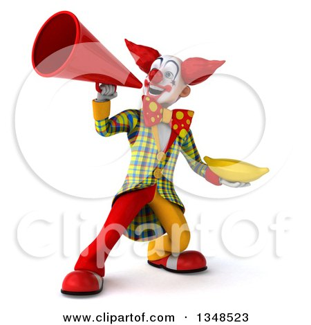 Clipart of a 3d Funky Clown Holding a Banana and Using a Megaphone - Royalty Free Illustration by Julos