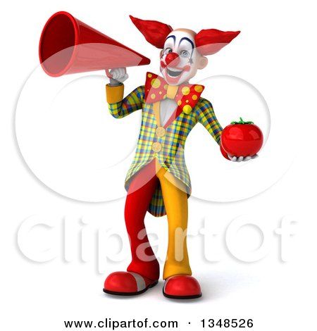 Clipart of a 3d Funky Clown Holding a Tomato and Using a Megaphone - Royalty Free Illustration by Julos