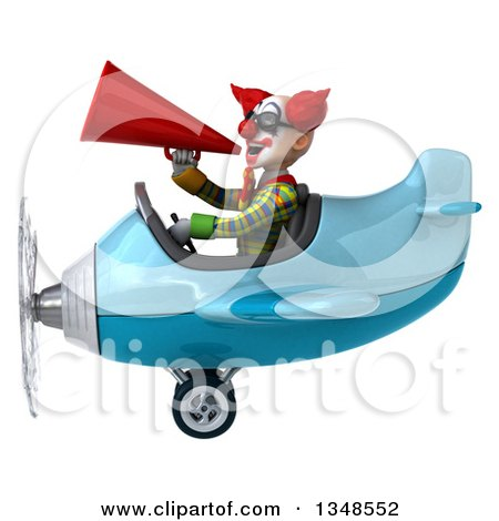 Clipart of a 3d Funky Clown Aviator Pilot Wearing Sunglasses, Using a Megaphone and Flying a Blue Airplane to the Left - Royalty Free Illustration by Julos