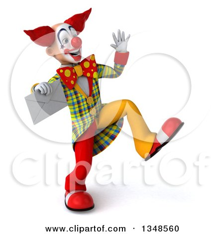 Clipart of a 3d Funky Clown Holding an Envelope, Dancing and Waving - Royalty Free Illustration by Julos