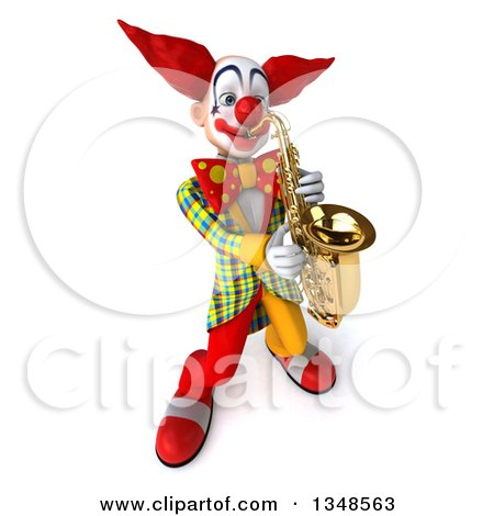 Clipart of a 3d Funky Clown Playing a Saxophone - Royalty Free Illustration by Julos