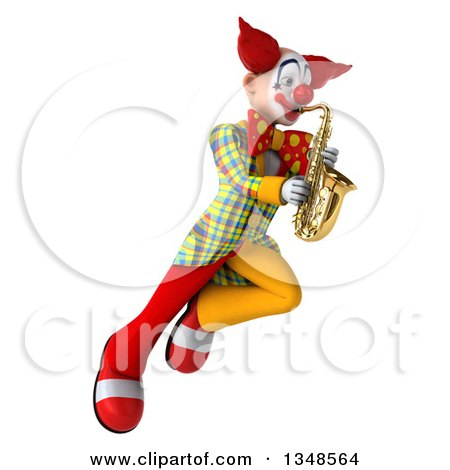 Clipart of a 3d Funky Clown Playing a Saxophone and Flying - Royalty Free Illustration by Julos