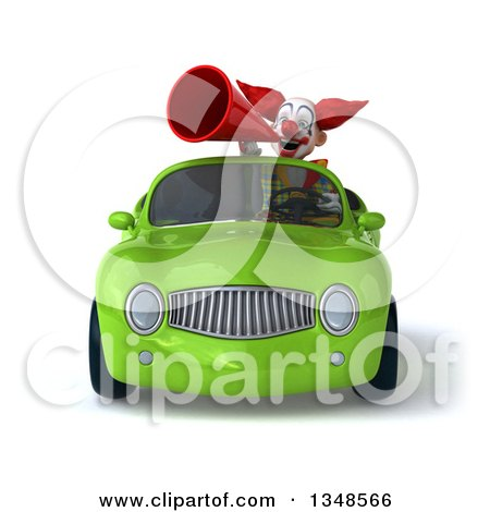 Clipart of a 3d Funky Clown Using a Megaphone and Driving a Green Convertible Car - Royalty Free Illustration by Julos
