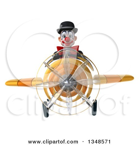 Clipart of a 3d White and Black Clown Aviator Pilot Flying a Yellow Airplane - Royalty Free Illustration by Julos