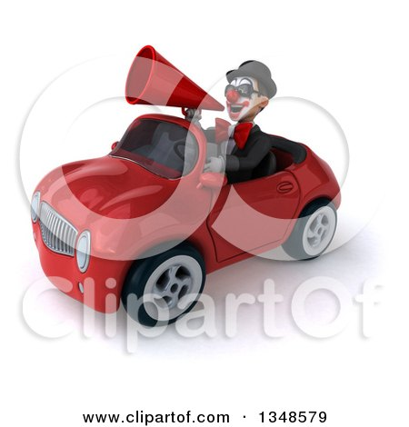 Clipart of a 3d White and Black Clown Wearing Sunglasses, Using a Megaphone and Driving a Red Convertible Car to the Left - Royalty Free Illustration by Julos