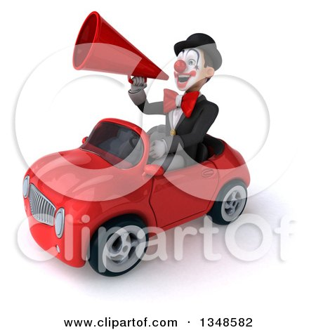 Clipart of a 3d White and Black Clown Using a Megaphone and Driving a Red Convertible Car to the Left - Royalty Free Illustration by Julos