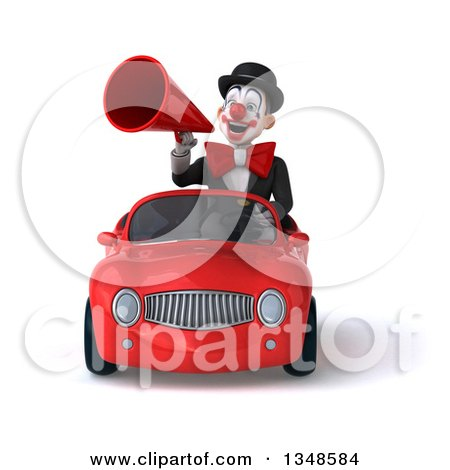 Clipart of a 3d White and Black Clown Using a Megaphone and Driving a Red Convertible Car - Royalty Free Illustration by Julos