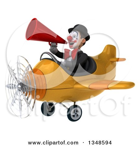 Clipart of a 3d White and Black Clown Aviator Pilot Using a Megaphone and Flying a Yellow Airplane to the Left - Royalty Free Illustration by Julos