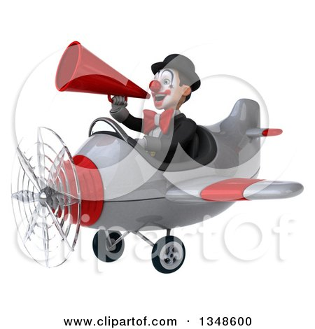 Clipart of a 3d White and Black Clown Aviator Pilot Using a Megaphone and Flying an Airplane to the Left - Royalty Free Illustration by Julos