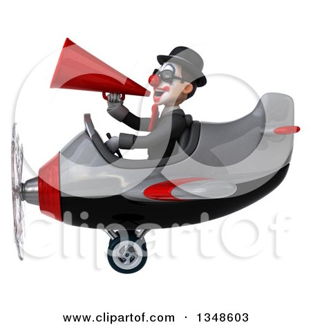 Clipart of a 3d White and Black Clown Aviator Pilot Wearing Sunglasses, Using a Megaphone and Flying an Airplane to the Left - Royalty Free Illustration by Julos
