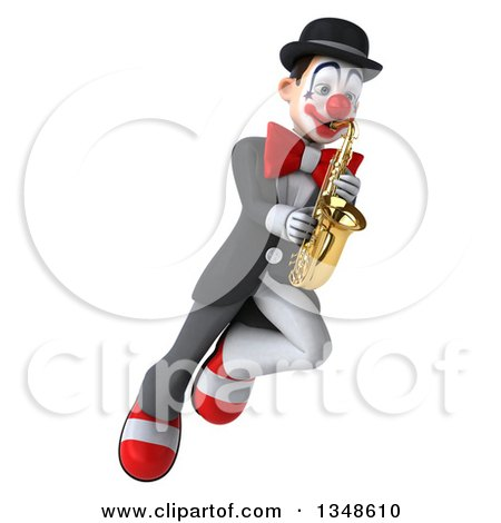 Clipart of a 3d White and Black Clown Playing a Saxophone and Flying - Royalty Free Illustration by Julos