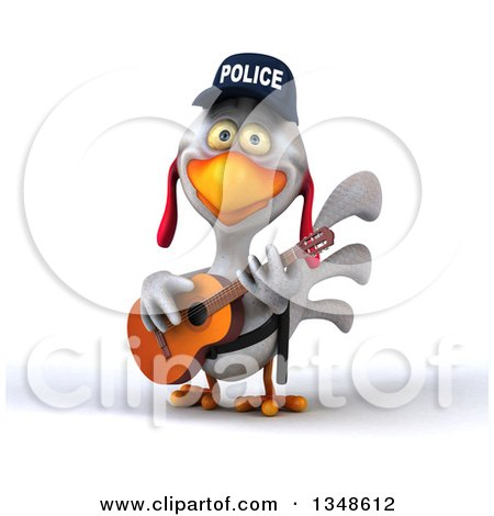 Clipart of a 3d White Police Chicken Playing a Guitar - Royalty Free Illustration by Julos