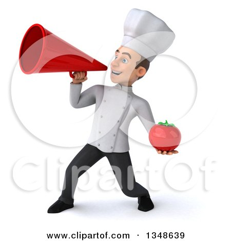 Clipart of a 3d Young White Male Chef Holding a Tomato and Announcing with a Megaphone - Royalty Free Illustration by Julos