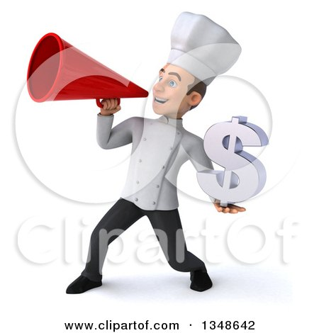 Clipart of a 3d Young White Male Chef Holding a Dollar Currency Symbol and Announcing with a Megaphone - Royalty Free Illustration by Julos